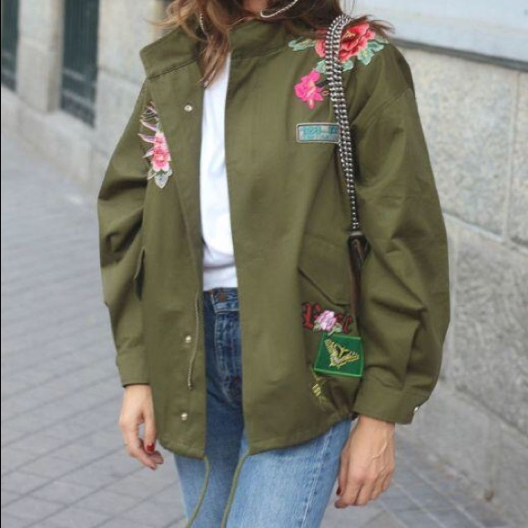 4782c648 Zara Jackets & Coats | Women Embroidered Green Parka Jacket M | Poshmark